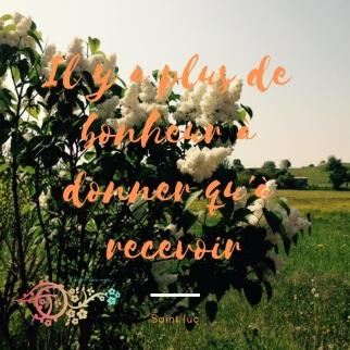 IL Y A PLUS DE BONHEUR À DONNER QU A RECEVOIR